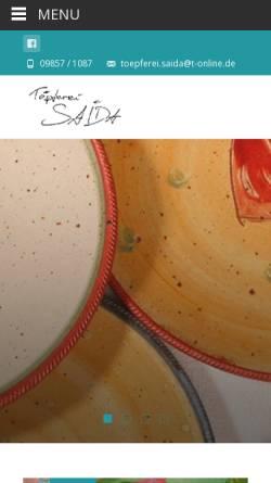 Vorschau der mobilen Webseite toepferei-saida.de, Töpferei Saida