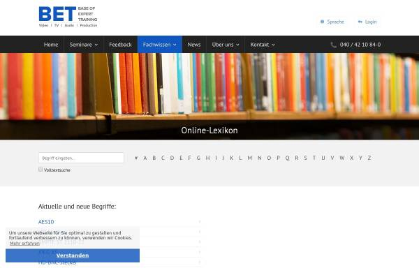 Vorschau von www.bet.de, Broadcast-Fachwörterbuch
