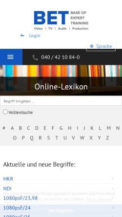 Vorschau der mobilen Webseite www.bet.de, Broadcast-Fachwörterbuch