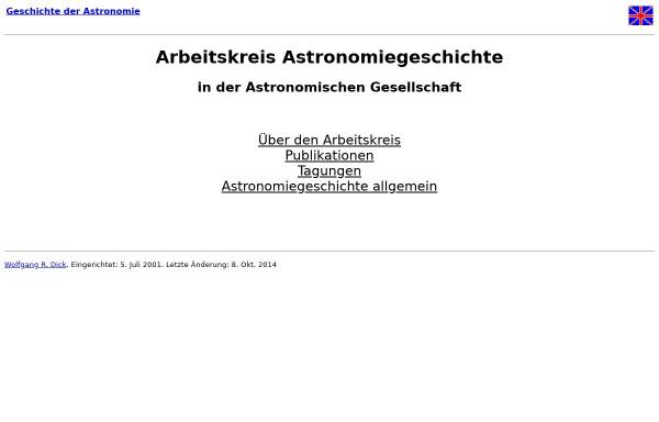 Vorschau von www.astro.uni-bonn.de, Arbeitskreis Astronomiegeschichte in der Astronomischen Gesellschaft