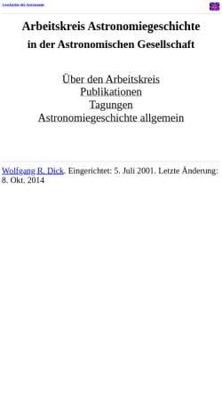 Vorschau der mobilen Webseite www.astro.uni-bonn.de, Arbeitskreis Astronomiegeschichte in der Astronomischen Gesellschaft