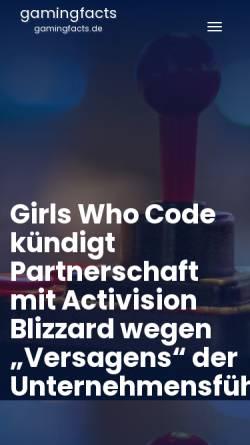 Vorschau der mobilen Webseite www.gamingfacts.de, GamingFacts.de