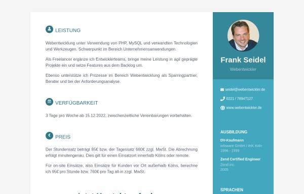 Freelancer Köln webentwickler frank seidel in köln freelancer dienstleistungen