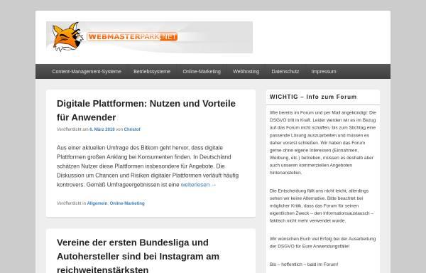 Vorschau von www.webmasterpark.net, Webmasterpark.net