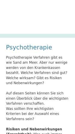 Vorschau der mobilen Webseite www.psychotherapie-netzwerk.de, Netzwerk Psychotherapie und Alternativen
