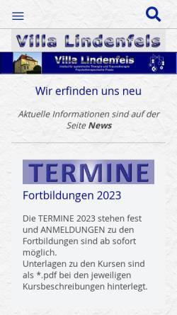 Vorschau der mobilen Webseite www.villa-lindenfels.de, Villa Lindenfels - Institut für systemische Therapie und Traumatherapie