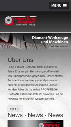 Vorschau der mobilen Webseite www.profitech.de, Profi-Tech-Diamant Werkzeuge GmbH