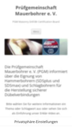 Vorschau der mobilen Webseite www.pgm-online.org, Prüfgemeinschaft Mauerbohrer e. V.