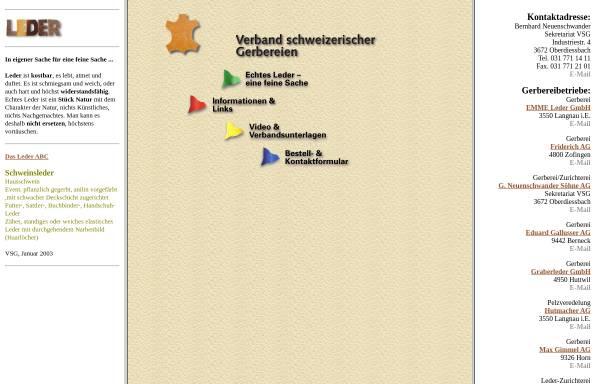 Vorschau von www.leder-gerbereien.ch, VSG Verband Sechweizerischer Gerbereien