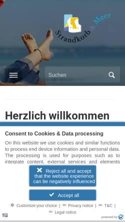 Vorschau der mobilen Webseite www.strandkorb-und-meer.de, Pries, Corina - Strandkorb & Meer