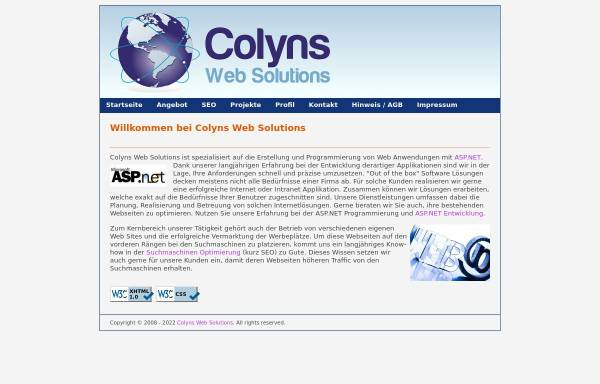 Vorschau von www.colyns.ch, Pierre Colyns Web Solutions