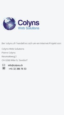 Vorschau der mobilen Webseite www.colyns.ch, Pierre Colyns Web Solutions