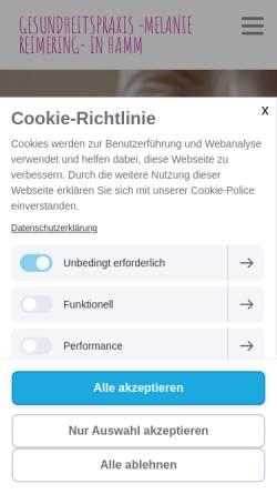Vorschau der mobilen Webseite www.melanie-reimering.de, Gesundheitspraxis Melanie Reimering