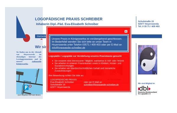 Vorschau von www.logopaedische-praxis-schreiber.de, Logopädische Praxis Schreiber