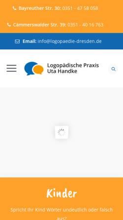 Vorschau der mobilen Webseite www.logopaedie-dresden.de, Logopädische Praxis Uta Handke