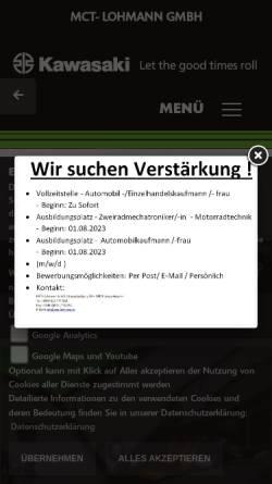 Vorschau der mobilen Webseite www.mct-lohmann.de, Kawasaki Tuning