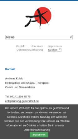 Vorschau der mobilen Webseite entspannung-gesundheit.de, Kubik Andreas