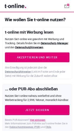 Vorschau der mobilen Webseite www.t-online.de, auto.t-online.de