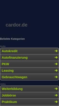 Vorschau der mobilen Webseite www.cardor.de, Cardor.de
