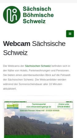 Vorschau der mobilen Webseite www.saechsisch-boehmische-schweiz.de, Webcams für die Sächsische und Böhmische Schweiz
