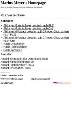 Vorschau der mobilen Webseite marius-meyer.ch, PLZ Verzeichnis CH - Marius Meyer