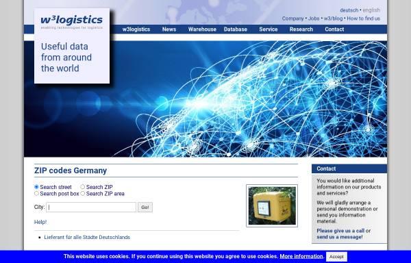 Vorschau von w3logistics.com, W3Logistics Postleitzahlbuch Deutschland