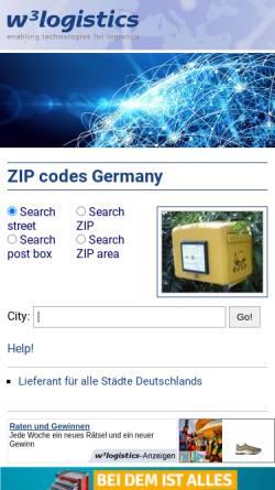 Vorschau der mobilen Webseite w3logistics.com, W3Logistics Postleitzahlbuch Deutschland