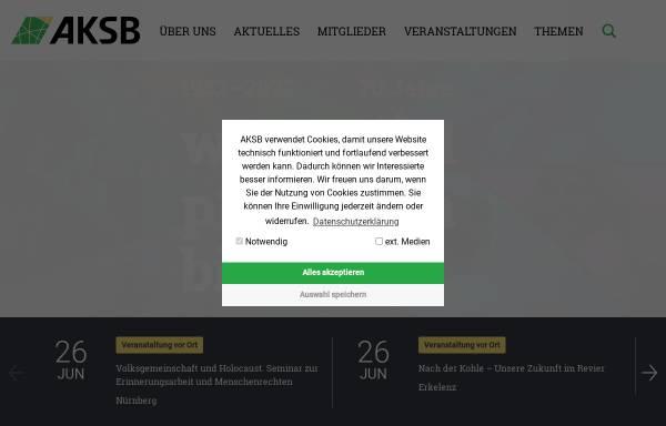 Vorschau von www.aksb.de, Arbeitsgemeinschaft katholisch-sozialer Bildungswerke in der Bundesrepublik Deutschland [AKSB]