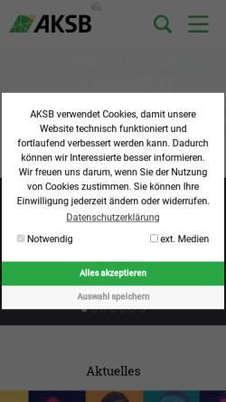 Vorschau der mobilen Webseite www.aksb.de, Arbeitsgemeinschaft katholisch-sozialer Bildungswerke in der Bundesrepublik Deutschland [AKSB]