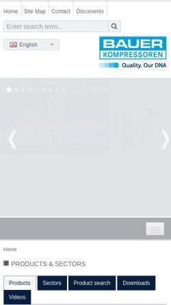 Vorschau der mobilen Webseite www.bauer-kompressoren.de, Bauer Kompressoren GmbH