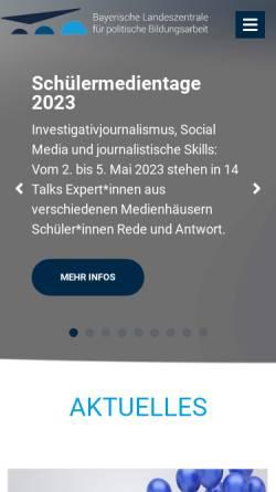 Vorschau der mobilen Webseite www.blz.bayern.de, Bayerische Landeszentrale für politische Bildungsarbeit