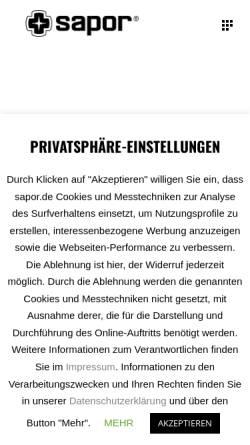 Vorschau der mobilen Webseite www.sapor.de, Sapor GmbH
