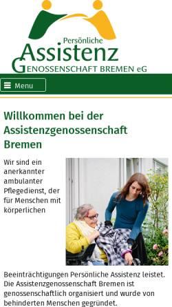 Vorschau der mobilen Webseite www.ag-bremen.de, Assistenzgenossenschaft Bremen