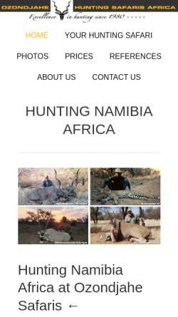 Vorschau der mobilen Webseite www.africanhuntingsafaris.com, Ozondjahe Hunting Safaris