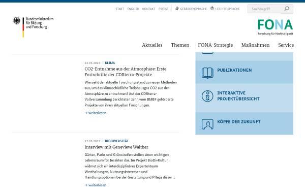 Vorschau von www.fona.de, Forschung für Nachhaltigkeit - BMfBF