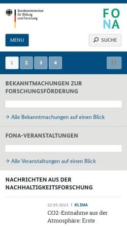 Vorschau der mobilen Webseite www.fona.de, Forschung für Nachhaltigkeit - BMfBF