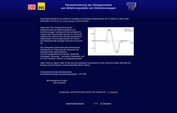 Vorschau von www.n-heuwold.de, Parametrisierung der Gleisgeometrie aus Befahrungsdaten von Gleismesswagen