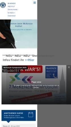 Vorschau der mobilen Webseite www.mckenzieinstitute.org, McKenzie Konzept