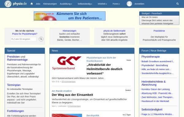 Vorschau von www.physio.de, Physiotherapie in Deutschland