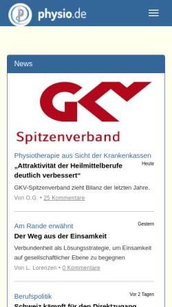 Vorschau der mobilen Webseite www.physio.de, Physiotherapie in Deutschland