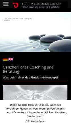 Vorschau der mobilen Webseite www.fluidum.de, Fluidum Communications, Inh. Ute-Andia Ratering
