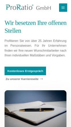Vorschau der mobilen Webseite www.proratio-gmbh.de, ProRatio GmbH