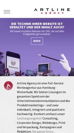 Vorschau der mobilen Webseite www.artline-agency.de, Artline Agency Werbeagentur GmbH
