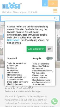 Vorschau der mobilen Webseite www.loesi.de, LöSi Hydraulik GmbH