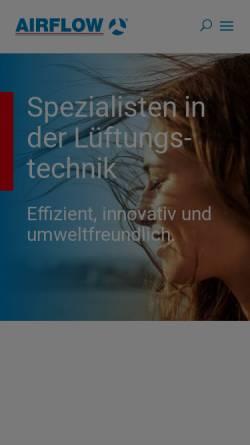 Vorschau der mobilen Webseite www.airflow.de, Airflow Lufttechnik GmbH