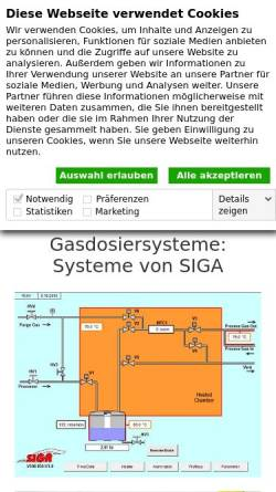 Vorschau der mobilen Webseite www.sigagmbh.de, SIGA Systeme für industrielle Gasanwendungen GmbH
