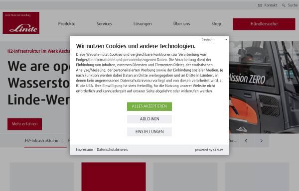Vorschau von www.linde-stapler.de, Bereich Fördertechnik der Linde AG