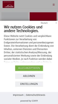 Vorschau der mobilen Webseite www.linde-stapler.de, Bereich Fördertechnik der Linde AG