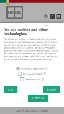 Vorschau der mobilen Webseite www.haenel.at, Hänel Büro- und Lagersysteme, Inh. Joachim Hänel