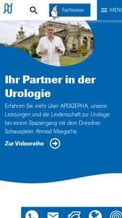 Vorschau der mobilen Webseite www.apogepha.de, Apogepha Arzneimittel GmbH